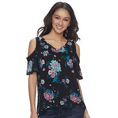 Juniors' Mudd® Cold Shoulder High-Low Top