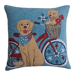 Americana Dog Bless America Throw Pillow