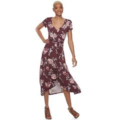 Juniors' About A Girl Faux-Wrap High-Low Maxi Dress
