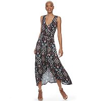 Juniors' About A Girl Printed Faux-Wrap High-Low Maxi Dress