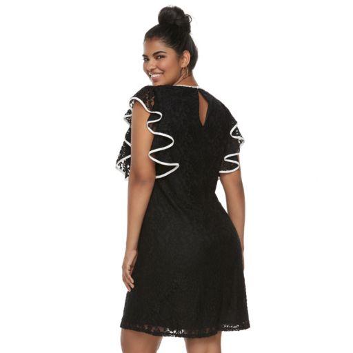 Juniors' Plus Size Wrapper Ruffled Lace Dress