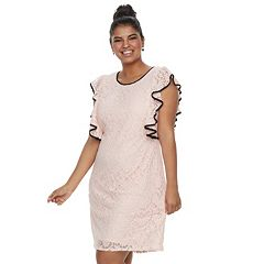 Juniors' Plus Size Wrapper Ruffled Lace Dress