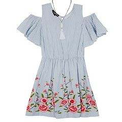 Girls 7-16 IZ Amy Byer Chambray Striped Cold Shoulder A-Line Dress with Tassel Necklace