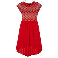 Girls 7-16 IZ Amy Byer Zig Zag Bodice Georgette High-Low Hem Dress with Necklace