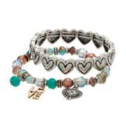 """Believe In """"Love"""" Heart Beaded Stretch Bracelet Set"""