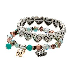 Believe In 'Love' Heart Beaded Stretch Bracelet Set