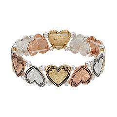 Believe In Tri Tone Hammered Heart Stretch Bracelet
