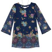 Girls 7-16 IZ Amy Byer Lace-Up Floral Print Chiffon Shift Dress with Necklace
