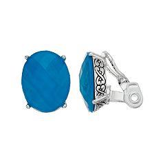 Napier Blue Oval Clip-On Earrings