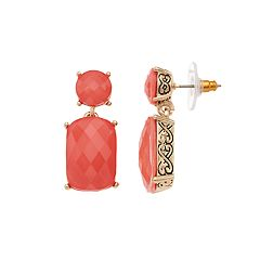 Napier Pink Geometric Drop Earrings