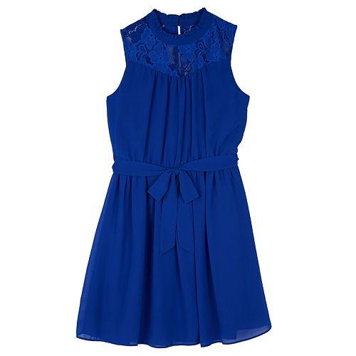 Girls 7-16 IZ Amy Byer Georgette Lace Yoke A-Line Dress