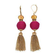 Napier Bead & Tassel Drop Earrings