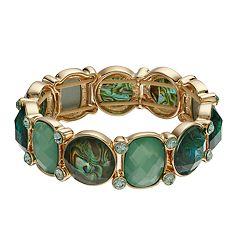 Dana Buchman Green Simulated Abalone Geometric Stretch Bracelet
