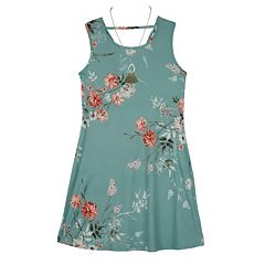 Girls 7-16 IZ Amy Byer Sleeveless Floral Print Dress with Necklace