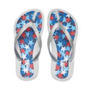 Girls 4-16 Red, White & Blue Stars Glitter Thong Flip Flop Sandals