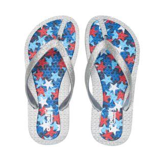 Girls 4-16 Red, White & Blue Stars Glitter Thong Flip Flop Sandals
