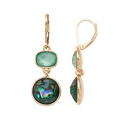 Dana Buchman Green Simulated Abalone Geometric Drop Earrings