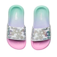 Girls 4-16 Unicorn Ombre Slides