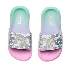 Girls 4-16 Unicorn Ombre Slides