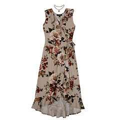 Girls 7-16 IZ Amy Byer Floral Ruffle Wrap Maxi Dress with Necklace
