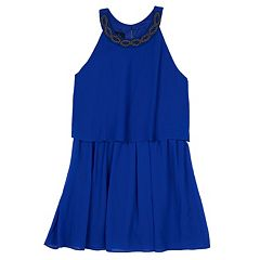 Girls 7-16 IZ Amy Byer Chiffon Applique Popover Dress