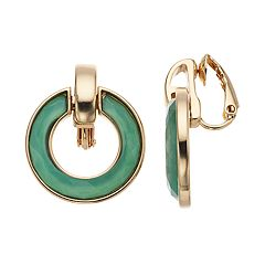 Dana Buchman Green Doorknocker Clip-On Earrings