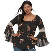 Juniors' Plus Size HeartSoul Crochet-Sleeve Top