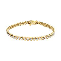 14k Gold Over Silver 1/4 Carat T.W. Diamond Tennis Bracelet