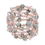 Pink Bead Coil Bracelet