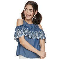Juniors' SO® Ruffle Cold-Shoulder Top