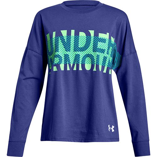 Girls' 7-16 Under Armour Overlay Branded Long Sleeve T-Shirt