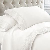Pacific Coast Textiles Crochet Lace Microfiber Sheet Set