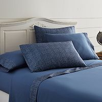 Pacific Coast Textiles Chambray Microfiber Sheet Set with Extra Pillowcases