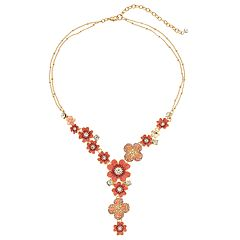 Napier Pink Flower Y Necklace