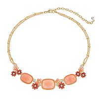 Napier Pink Flower Collar Necklace