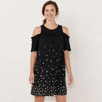 0fecf9fdf6 Women s LC Lauren Conrad Ruffle Cold-Shoulder Dress