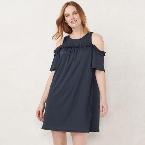 Women S Lc Lauren Conrad Ruffle Cold Shoulder Dress
