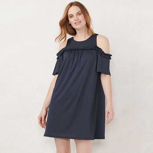 Womens Lc Lauren Conrad Ruffle Cold Shoulder Dress