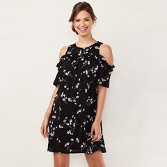Women's LC Lauren Conrad Ruffle Cold-Shoulder Dress