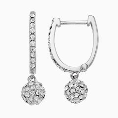 Chrystina Fireball Hoop Drop Earrings