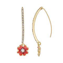 Napier Peach Flower Nickel Free Threader Earrings