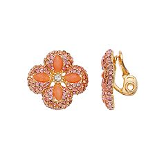 Napier Peach Flower  Nickel Free Clip-On  Earrings