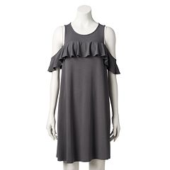 Women's LC Lauren Conrad Cold-Shoulder Ruffle Swing Dress