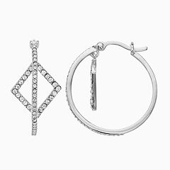 Chrystina Oval Hoop Earrings with Square Charm
