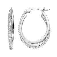 Chrystina Twisted Oval Crystal Hoop Earrings