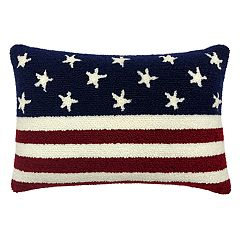Americana Hooked Rug Flag Oblong Throw Pillow