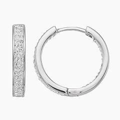 Chrystina Crystal Huggie Hoop Earrings