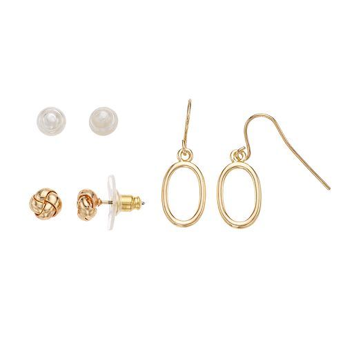 Napier Simulated Pearl Nickel Free Earring Set