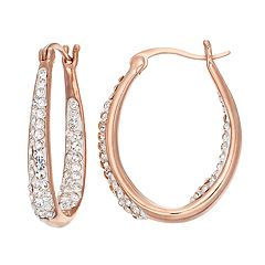 Chrystina Silver Plated Inside Out Crystal Oval Hoop Earrings
