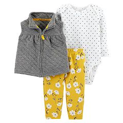 Baby Girl Carter's Quilted Vest, Polka Dot Bodysuit & Floral Leggings Set